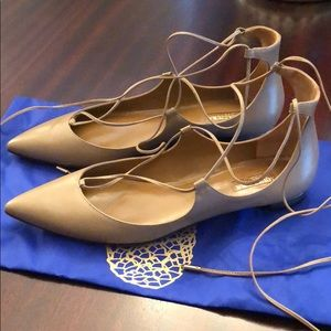Aquazzura Christy lace-up leather flat